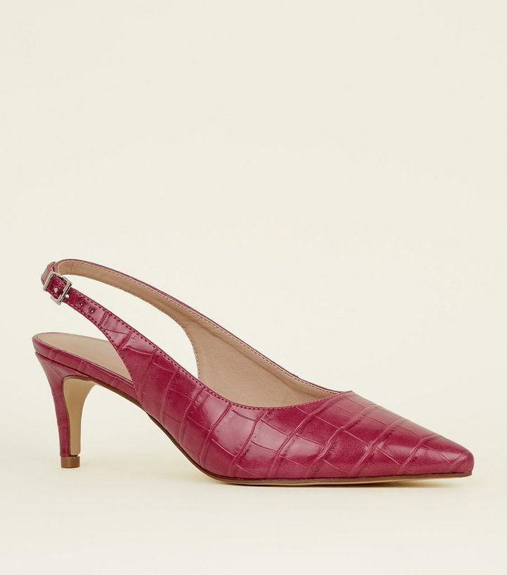 d587bbc6b332 Bright Pink Faux Croc Kitten Heel Slingbacks
