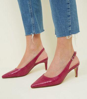 d2d01a02f603a Bright Pink Faux Croc Kitten Heel Slingbacks   New Look