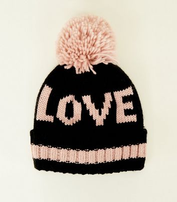 Black and Pink Love Knit Bobble Hat