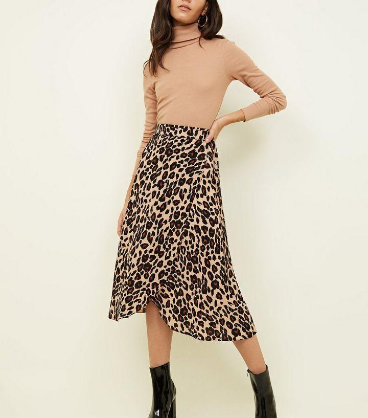 9de146b39c Brown Leopard Print Midi Wrap Skirt | New Look