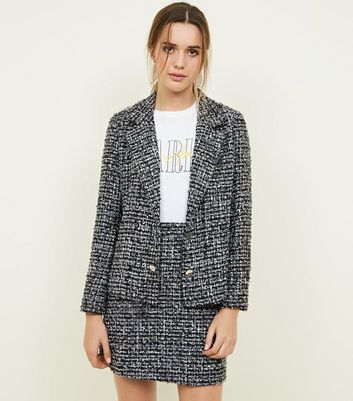 Black Bouclé Button Front Jacket