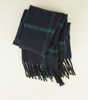 Navy Gird Check Scarf