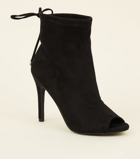 f2d040a44fb ... Black Suedette Peep Toe Stiletto Sock Boots ...