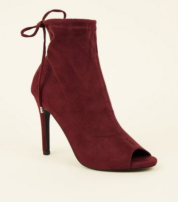 Dark Red Suedette Peep Toe Stiletto Sock Boots