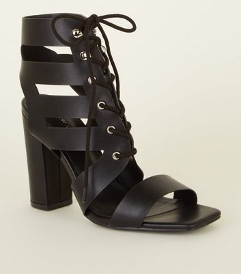 Black Leather-Look Lace Up Ghillie Block Heels