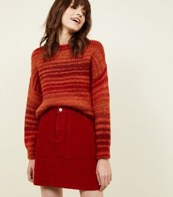 Red Corduroy Utility Pocket Skirt