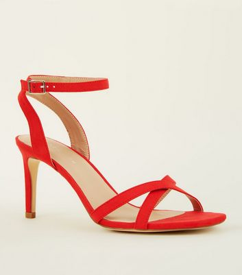Red Suedette Cross Strap Stiletto Sandals