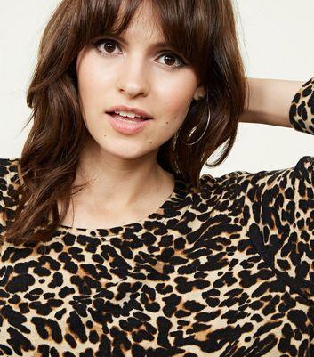 Cameo Rose Brown Leopard Print 3/4 Sleeve Top New Look