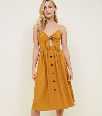 Cameo Rose Mustard Tie Front Midi Dress