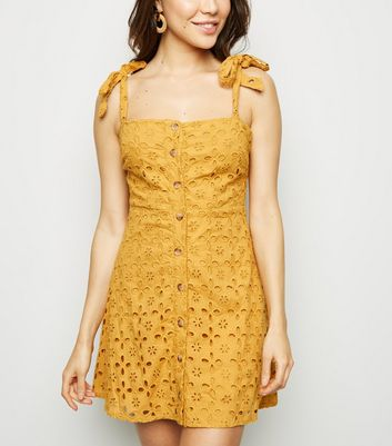 Cameo Rose Mustard Broderie Button Up Dress