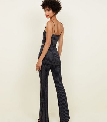 Cameo Rose Black Glitter Stripe Cropped Cami New Look