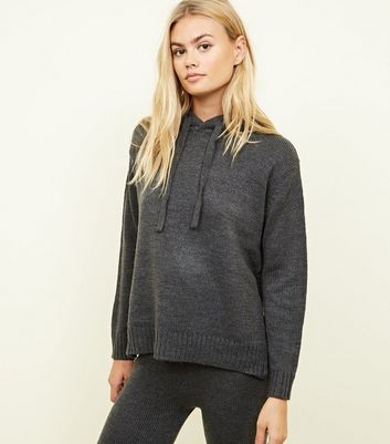 QED Dark Grey Ribbed Knit Hoodie