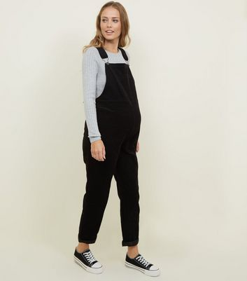 Maternity Black Corduroy Dungarees