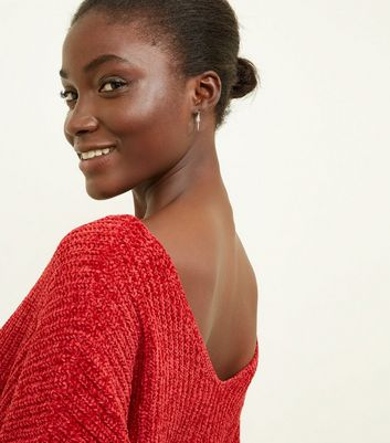 QED Red Chenille V Neck Jumper New Look