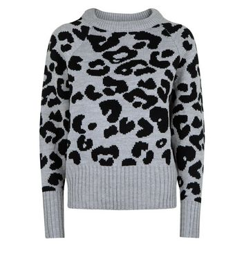 QED Grey Leopard Pattern High Neck Jumper New Look