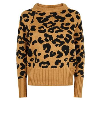QED Camel Leopard Pattern High Neck Jumper New Look