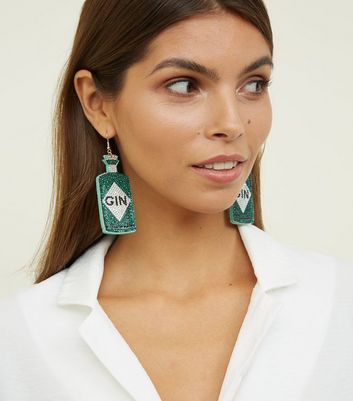 Green Gem Gin Bottle Earrings