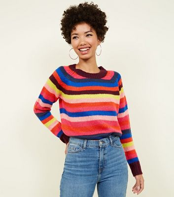 QED Multicoloured Stripe Knit Crew Neck Jumper New Look