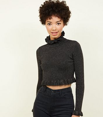 QED Gold Glitter Frill Trim Cropped Jumper