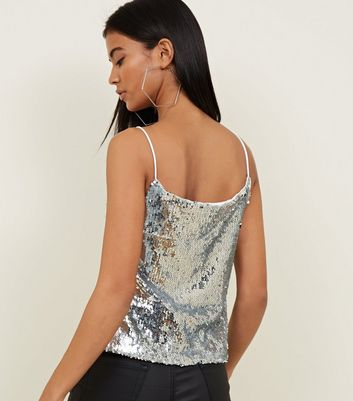 QED Silver Sequin Strappy Top New Look