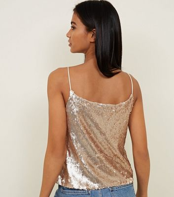QED Gold Sequin Strappy Top New Look