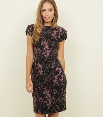 Apricot Black Floral Boat Neck Dress