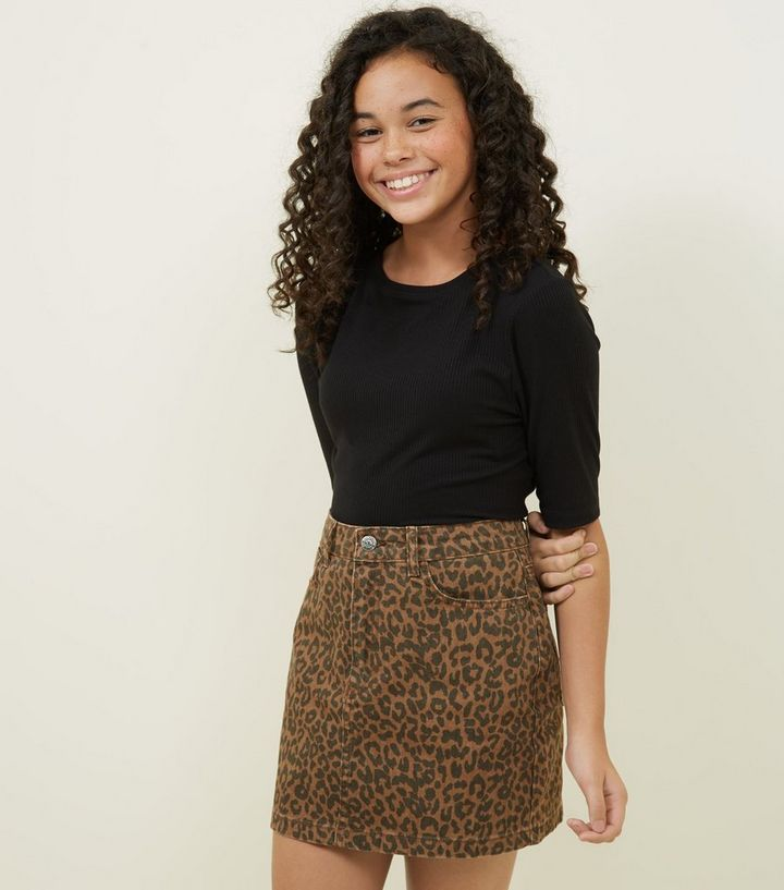 9bf714b214ed Girls Brown Leopard Print Denim Mini Skirt | New Look