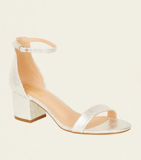 ... Silver Shimmer Low Block Heel Sandals ...