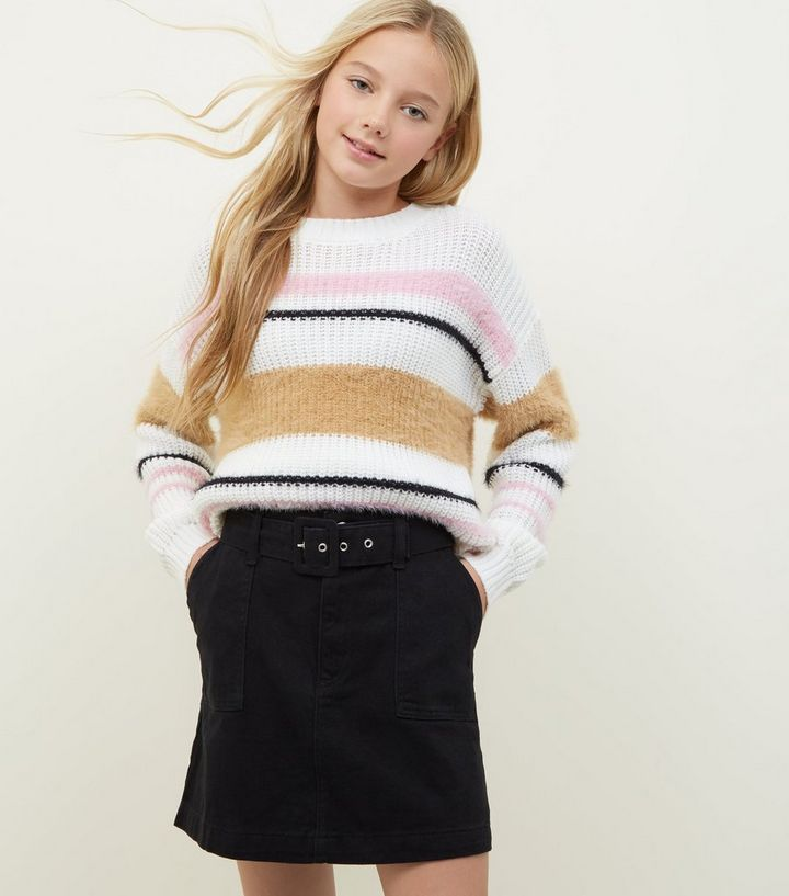 c5b8f499 Girls Khaki Stripe Funnel Neck Top | New Look