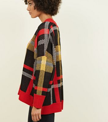 QED Red Check Oversized Cardigan New Look