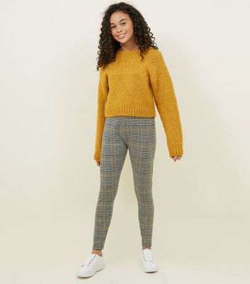 Girls Mustard Check Leggings
