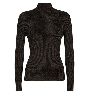 QED Black Glitter Long Sleeve Funnel Neck Top New Look