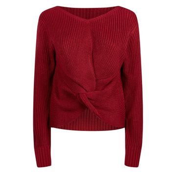 QED Burgundy Twist Front Jumper New Look
