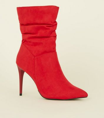 Red Suedette Stiletto Heel Slouch Calf Boots