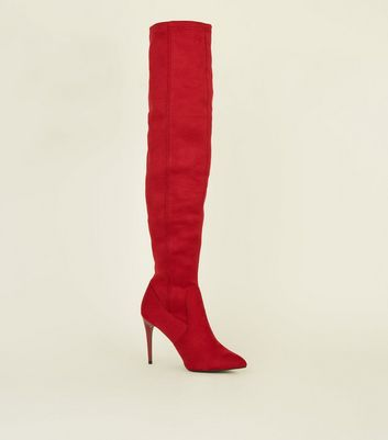 Red Suedette Stiletto Heel Over The Knee Boots