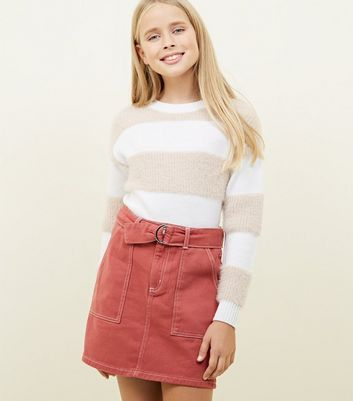 Girls Mid Pink Contrast Stitch Denim Skirt