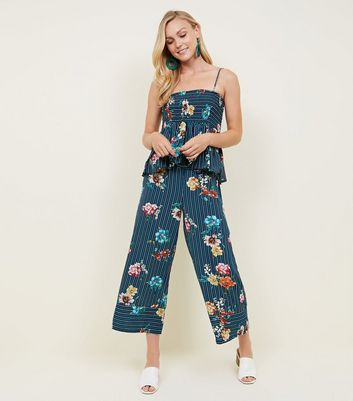 Cameo Rose Blue Stripe Floral Trousers