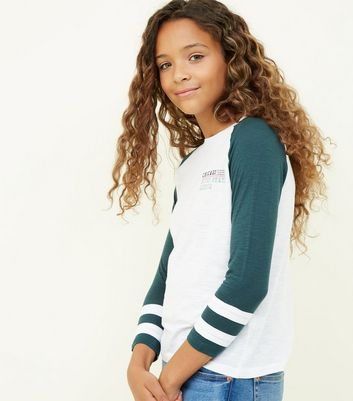 Girls Dark Green Chicago Print Raglan T-Shirt