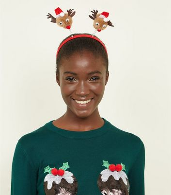 Red Ribbon Wrapped Reindeer Christmas Headband