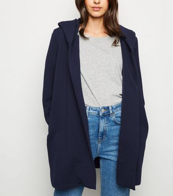 Mela Navy Ribbed Hooded Cardigan