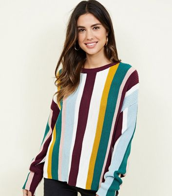Multi Colour Stripe Long Sleeve Knit Jumper