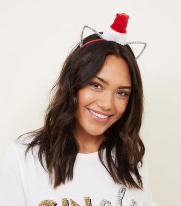 Red Santa Hat Christmas Cat Ears