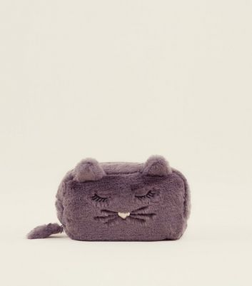 Grey Faux Fur Cat Make-Up Bag