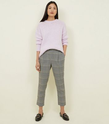 Black Check Pull-On Tapered Trousers