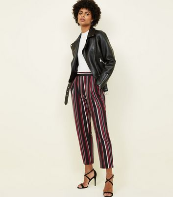 Black Stripe Scuba Pull On Trousers