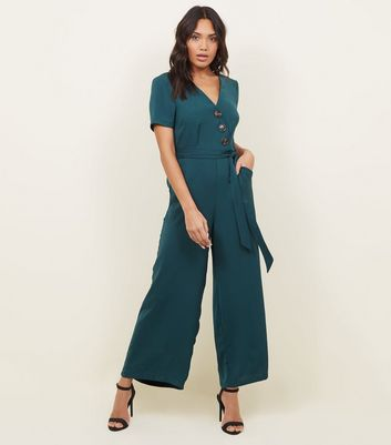 Teal Diagonal Button Front Wide Leg Jumpsuit