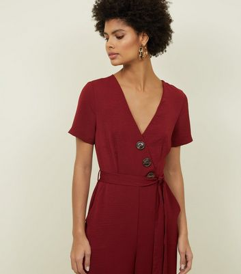 Plum Diagonal Button Front Wide Leg Jumpsuit