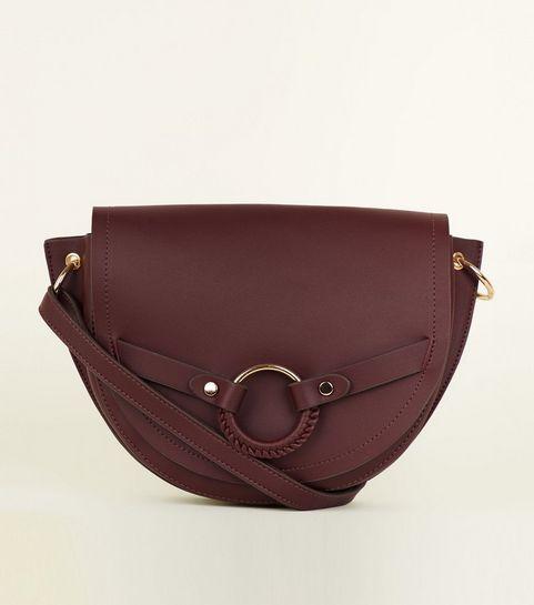 Burgundy Ring Front Saddle Bag