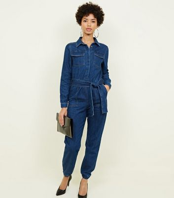 Blue Denim Cuffed Long Sleeve Jumpsuit