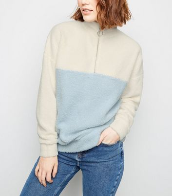 Blue Colour Block Borg Half Zip Sweatshirt
